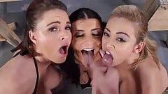 Krissy, Mia & Romi gets messy POV facial cum blast