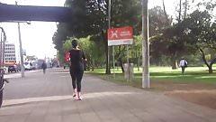 Milf booty jogging in leggings 2