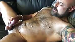 Hot Hairy Muscle Daddy Jerks Off for Me and Cums