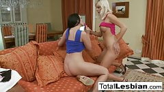 Euro lesbians Bianca and Walleria play on the sofa