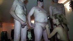Russian Horny Slut Wife gets used & gang banged
