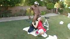 Blonde chick with big tits and ass get fucked by Black dude