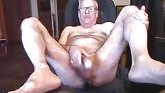 Hairy Daddy Jerking Off With Butt Plug