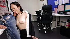 Cute brunette Ritsuko Tachibana swallows a boner in the offi
