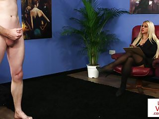 Classy british voyeur watching sub in office