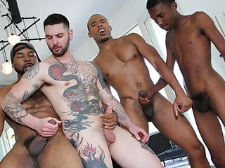 White gay boi gangbanged by black men