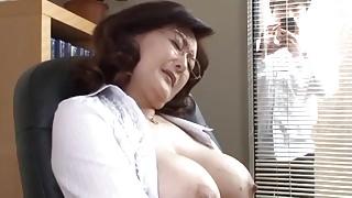 Japanese school director masturbates in the office