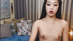 Skinny Tranny Plays her Cock on Cam