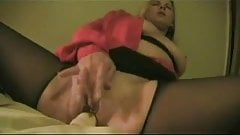 Masturbating in black pantyhose
