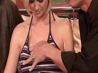 Horny blonde wife gets fucked, facialized while her husband watches