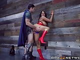 Busty Wonder Woman takes a diamond hard cock inside her