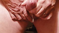 Huge cumshot from a thick mature cock