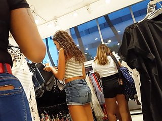 Candid voyeur brazilian teen tight body shopping