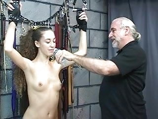Young tattoed BDSM slut with shaved cunt turned into footstool and blindfolded