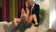 Old husband watches his wife fuck with young guy