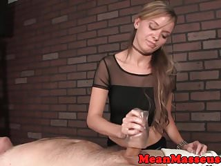 Dominating masseuse jerking customer
