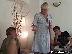 Two dudes screw cleaning granny