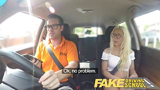 Fake Driving School Stunning blonde gets deep creampie