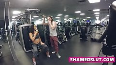Slutty wife cheats on her husband by fucking trainers