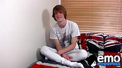 Ginger emo twink Kai Alexander pleasures himself on a bed