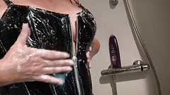 Busty amateur showering in latex and heels!!