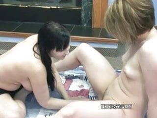 Veronica Snow And Angelica Meow Share A Big Dildo