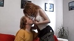 Redhead teen girl and older man