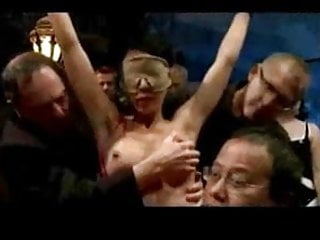 Busty asian blindfold, bound, groped, and shocked