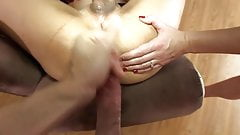 Asian shemale cums and takes a double creampie
