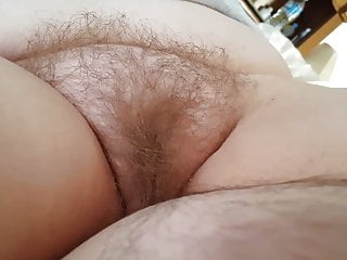 gently stroking my cock as i look at her chubby hairy pussy