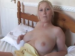 beautiful blonde shows off in free down blouse