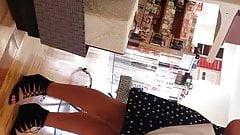 sexy brunette in black dress