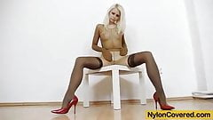 Petite blond full in tights