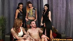 British femdoms tug sub in front of voyeurs