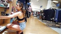 Candid voyeur tall long legs shorts hottie shopping