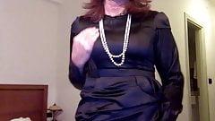 endlessly good masturbation in a satin dress