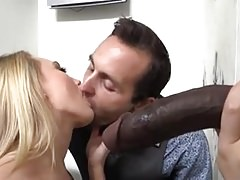 White wife spits black cum into her husband mouth