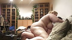 BBW Rides guys cock on the sofa