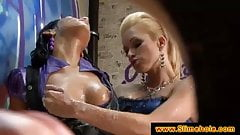 Ladies gagging on a cock at a gloryhole