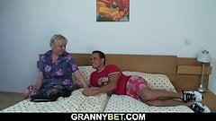 He fucks big melons blonde granny after shower
