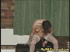 My MILF exposed Hot wife in white stockings riding toy