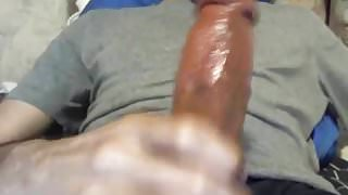 Playing With His Big Lubed Cock