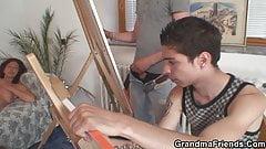 Hot grandma and boys teen threesome fuck