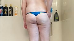 Showing off new swim thong