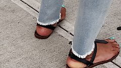 Candid mature ebony feet waiting for bus 2