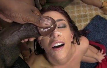 Mischa Brooks gets several facial cum loads from BBC