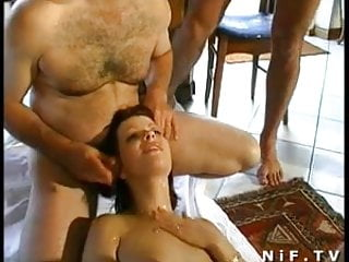 French redhead gets double anal plugged and gangbanged