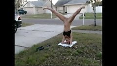 Lil C Naked Headstand