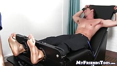Handsome young stud Brian Fisher endures tickling torment