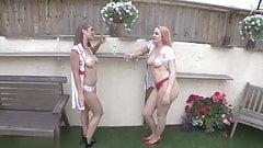 Pair Of Chav Slut Tease Cocks Outside! WANK! JOI!